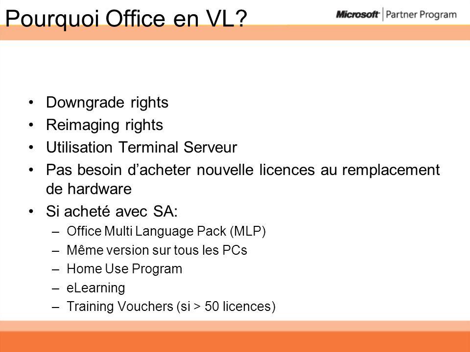 Pourquoi Office en VL? Downgrade rights Reimaging rights Utilisation Terminal Serveur Pas besoin dacheter nouvelle licences au remplacement de hardwar