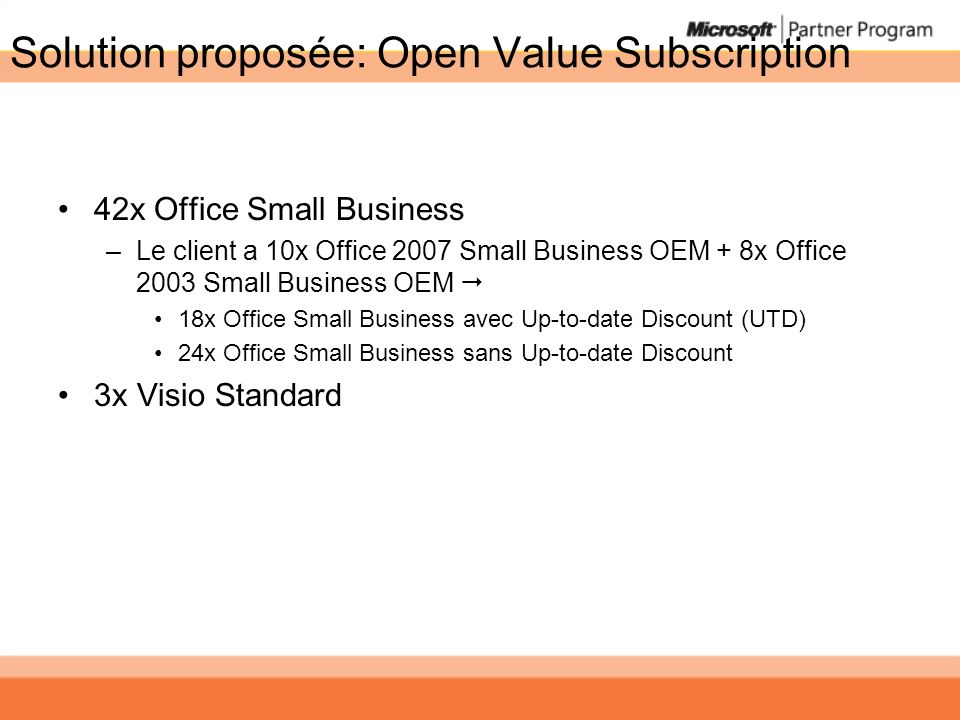 Solution proposée: Open Value Subscription 42x Office Small Business –Le client a 10x Office 2007 Small Business OEM + 8x Office 2003 Small Business OEM 18x Office Small Business avec Up-to-date Discount (UTD) 24x Office Small Business sans Up-to-date Discount 3x Visio Standard