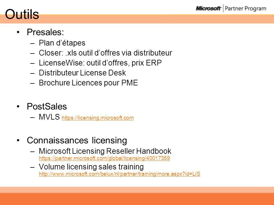 Outils Presales: –Plan détapes –Closer:.xls outil doffres via distributeur –LicenseWise: outil doffres, prix ERP –Distributeur License Desk –Brochure