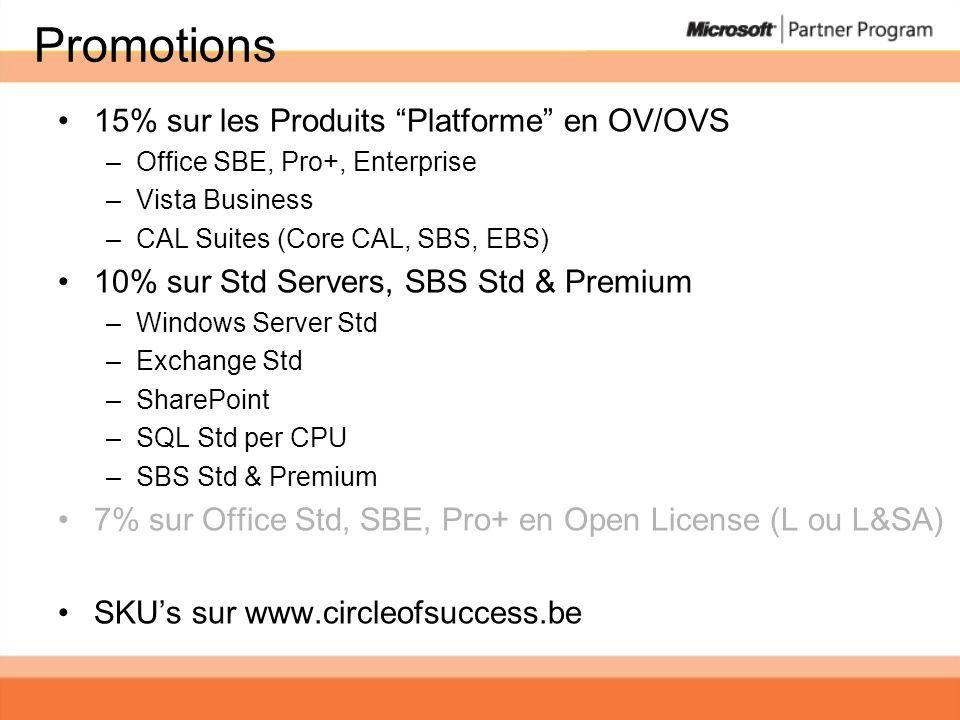 Promotions 15% sur les Produits Platforme en OV/OVS –Office SBE, Pro+, Enterprise –Vista Business –CAL Suites (Core CAL, SBS, EBS) 10% sur Std Servers