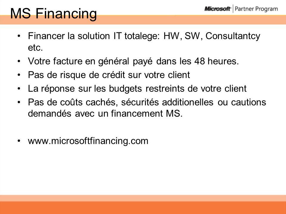 MS Financing Financer la solution IT totalege: HW, SW, Consultantcy etc. Votre facture en général payé dans les 48 heures. Pas de risque de crédit sur