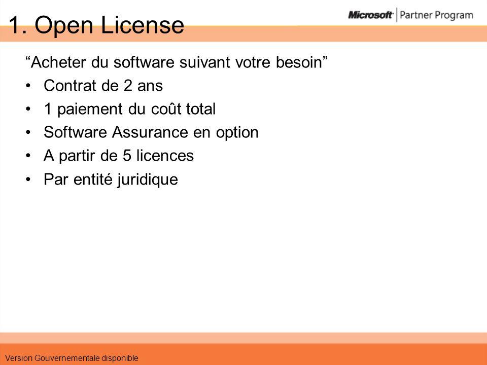 1. Open License Acheter du software suivant votre besoin Contrat de 2 ans 1 paiement du coût total Software Assurance en option A partir de 5 licences