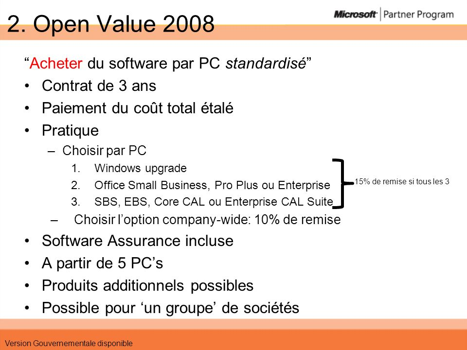 2. Open Value 2008 Acheter du software par PC standardisé Contrat de 3 ans Paiement du coût total étalé Pratique –Choisir par PC 1.Windows upgrade 2.O