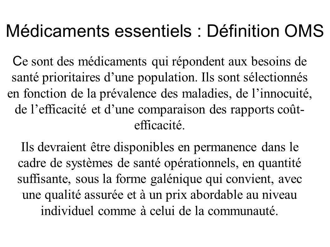Médicaments essentiels : Définition OMS C e sont des médicaments qui répondent aux besoins de santé prioritaires dune population. Ils sont sélectionné