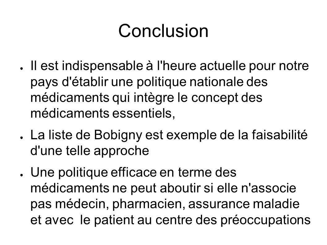 Conclusion Il est indispensable à l'heure actuelle pour notre pays d'établir une politique nationale des médicaments qui intègre le concept des médica
