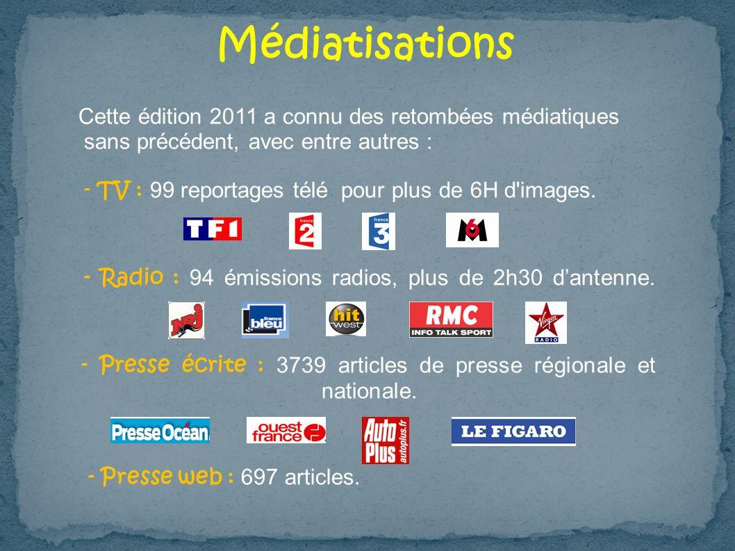 Médiatisations Cette édition 2011 a connu des retombées médiatiques sans précédent, avec entre autres : - TV : 99 reportages télé pour plus de 6H d'im