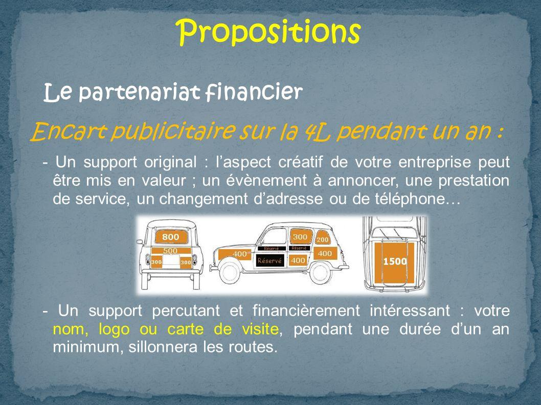 Propositions Encart publicitaire sur la 4L pendant un an : - Un support original : laspect créatif de votre entreprise peut être mis en valeur ; un év
