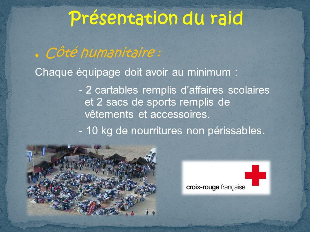 Présentation du raid Côté humanitaire : Chaque équipage doit avoir au minimum : - 2 cartables remplis d'affaires scolaires et 2 sacs de sports remplis