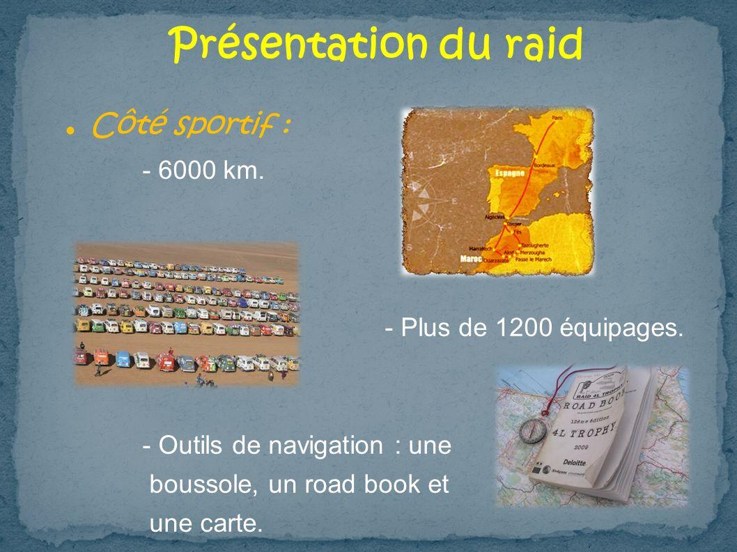 Présentation du raid Côté sportif : - 6000 km. - Plus de 1200 équipages. - Outils de navigation : une boussole, un road book et une carte.