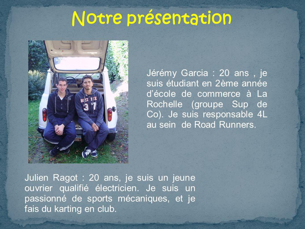 Notre présentation Julien Ragot : 20 ans, je suis un jeune ouvrier qualifié électricien. Je suis un passionné de sports mécaniques, et je fais du kart