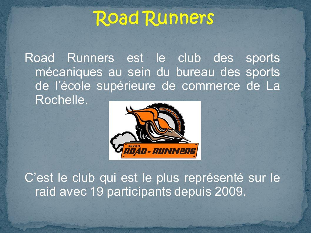 Road Runners est le club des sports mécaniques au sein du bureau des sports de lécole supérieure de commerce de La Rochelle. Cest le club qui est le p