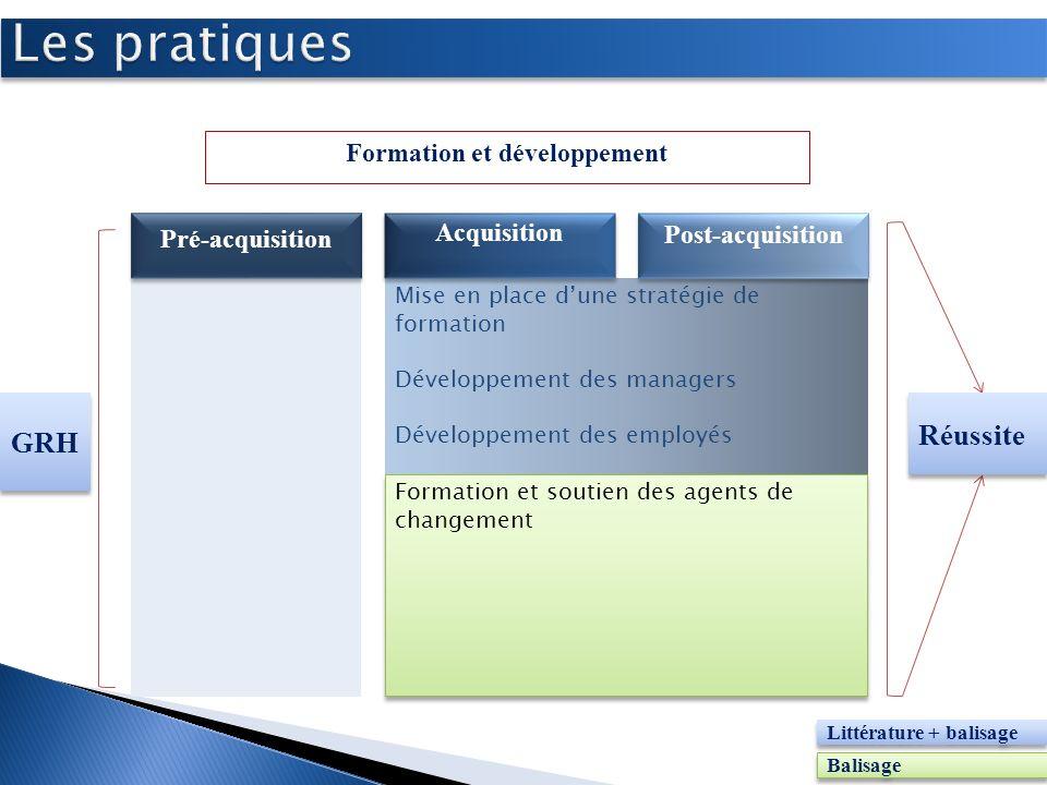 Mise en place dune stratégie de formation Développement des managers Développement des employés Formation et développement Pré-acquisition Acquisition