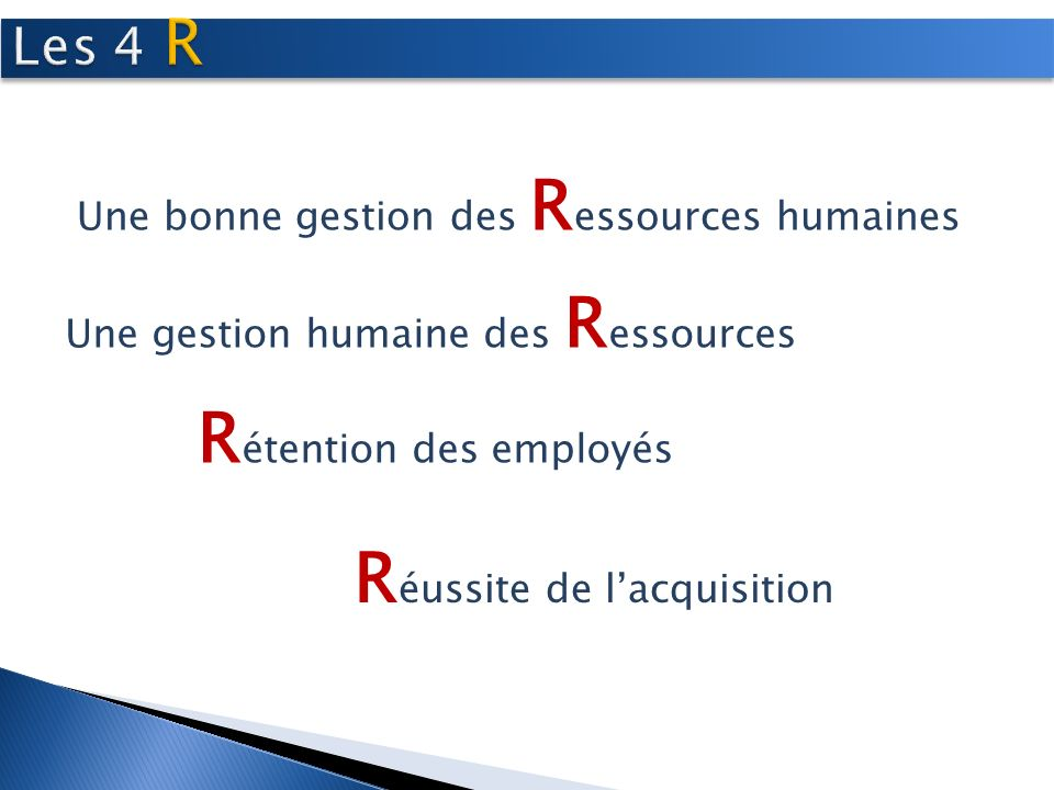 Une bonne gestion des R essources humaines Une gestion humaine des R essources R étention des employés R éussite de lacquisition