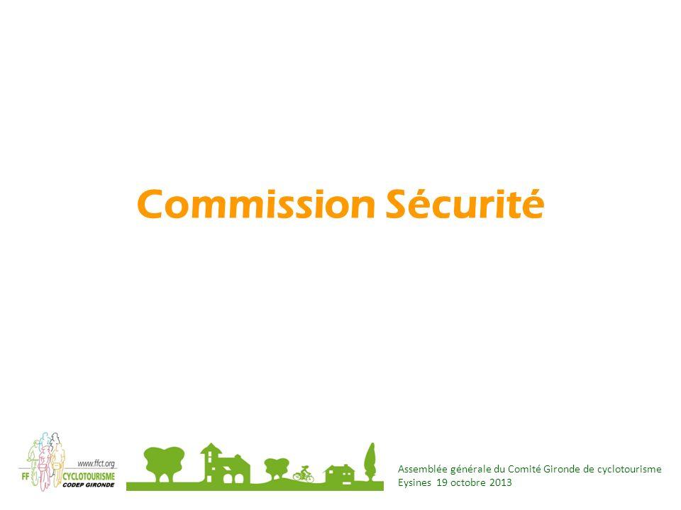 Assemblée générale du Comité Gironde de cyclotourisme Eysines 19 octobre 2013 Commission Sécurité