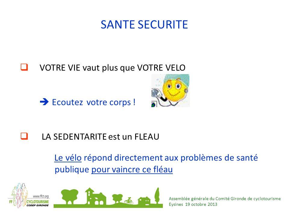 Assemblée générale du Comité Gironde de cyclotourisme Eysines 19 octobre 2013 SANTE SECURITE VOTRE VIE vaut plus que VOTRE VELO Ecoutez votre corps !