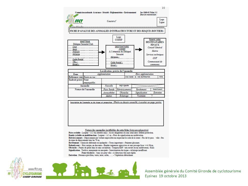 Assemblée générale du Comité Gironde de cyclotourisme Eysines 19 octobre 2013