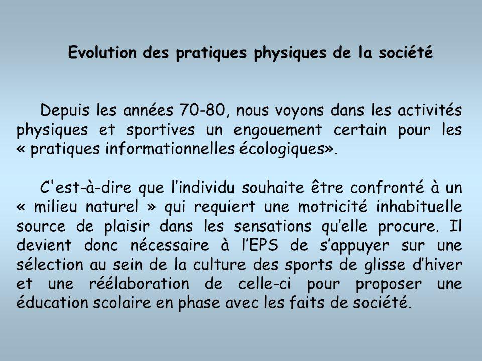 Evolution des pratiques physiques de la société Depuis les années 70-80, nous voyons dans les activités physiques et sportives un engouement certain p
