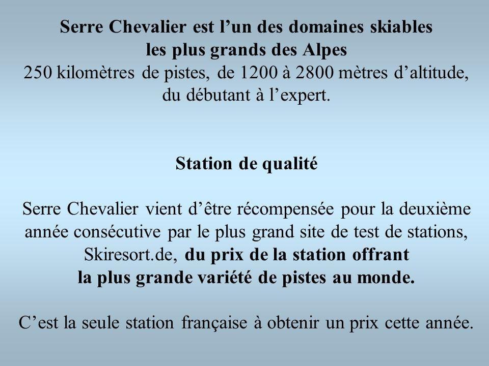 Serre Chevalier est lun des domaines skiables les plus grands des Alpes 250 kilomètres de pistes, de 1200 à 2800 mètres daltitude, du débutant à lexpe