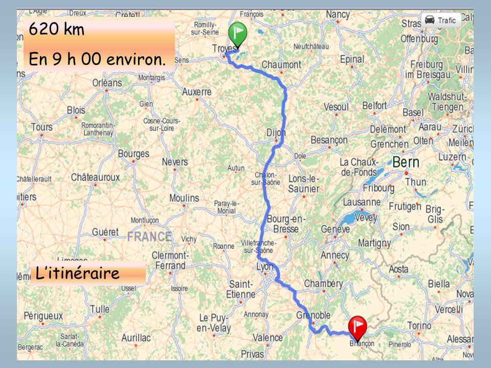620 km En 9 h 00 environ. Litinéraire