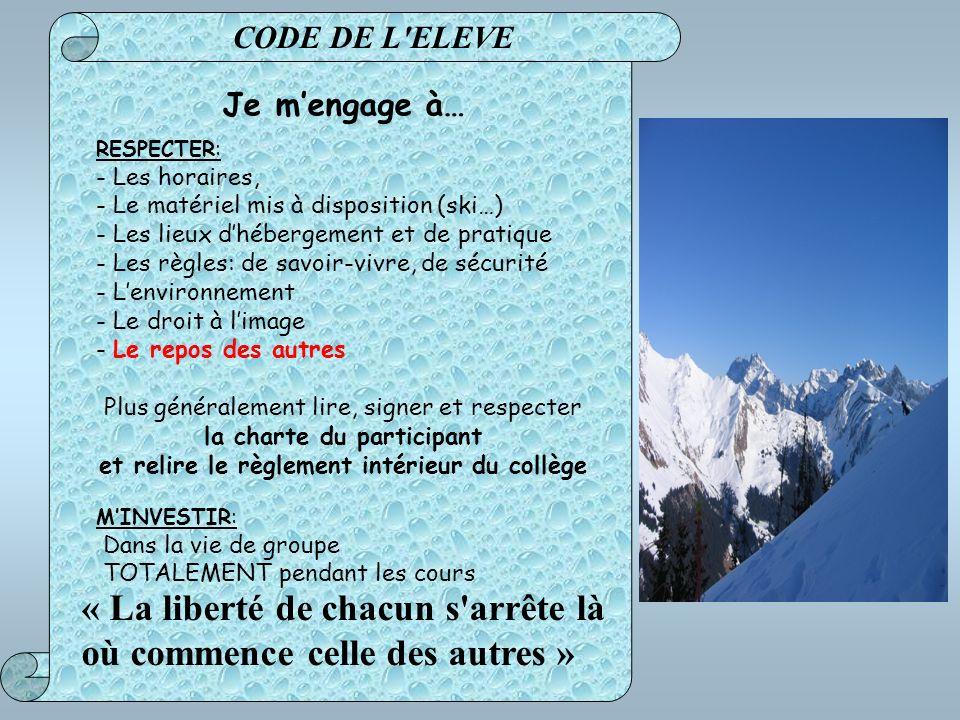 Je mengage à… RESPECTER: - Les horaires, - Le matériel mis à disposition (ski…) - Les lieux dhébergement et de pratique - Les règles: de savoir-vivre,