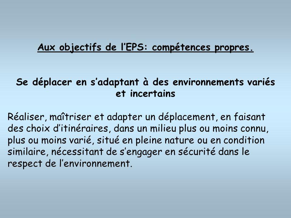 Aux objectifs de lEPS: compétences propres. Se déplacer en sadaptant à des environnements variés et incertains Réaliser, maîtriser et adapter un dépla