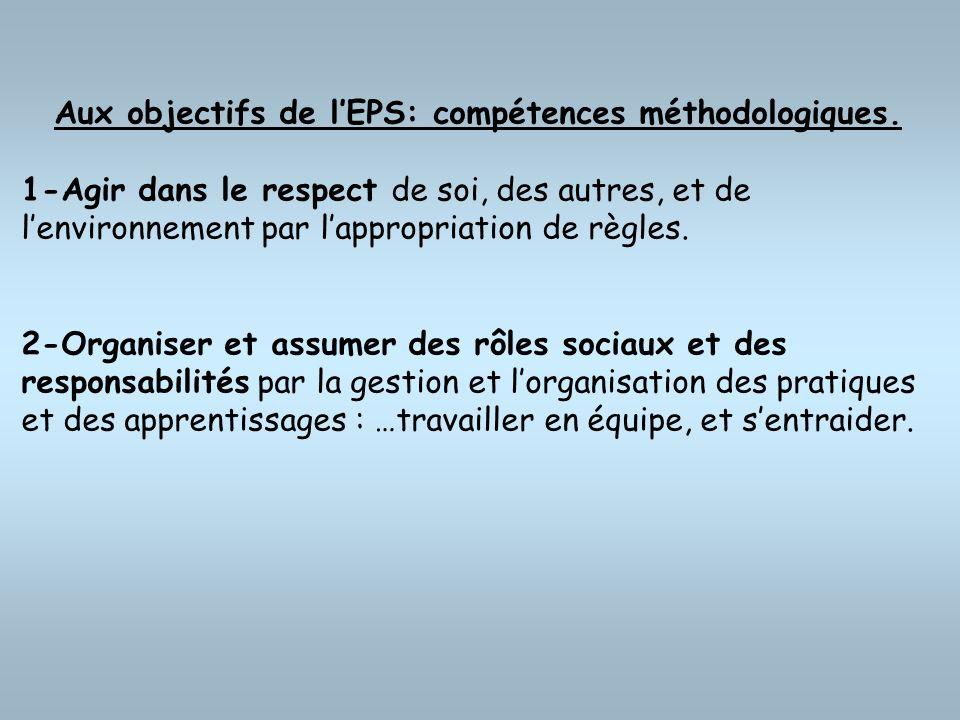 Aux objectifs de lEPS: compétences méthodologiques. 1-Agir dans le respect de soi, des autres, et de lenvironnement par lappropriation de règles. 2-Or