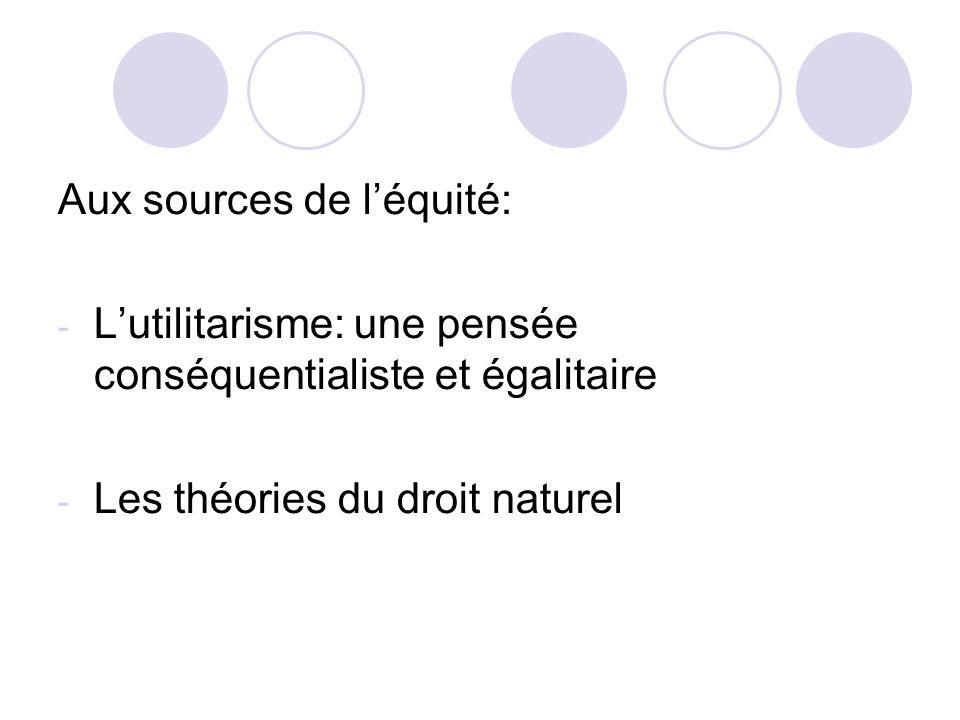 Aux sources de léquité: - Lutilitarisme: une pensée conséquentialiste et égalitaire - Les théories du droit naturel