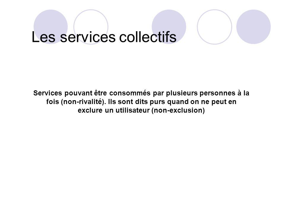 Les services collectifs Services pouvant être consommés par plusieurs personnes à la fois (non-rivalité). Ils sont dits purs quand on ne peut en exclu