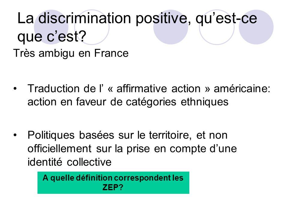 La discrimination positive, quest-ce que cest? Très ambigu en France Traduction de l « affirmative action » américaine: action en faveur de catégories