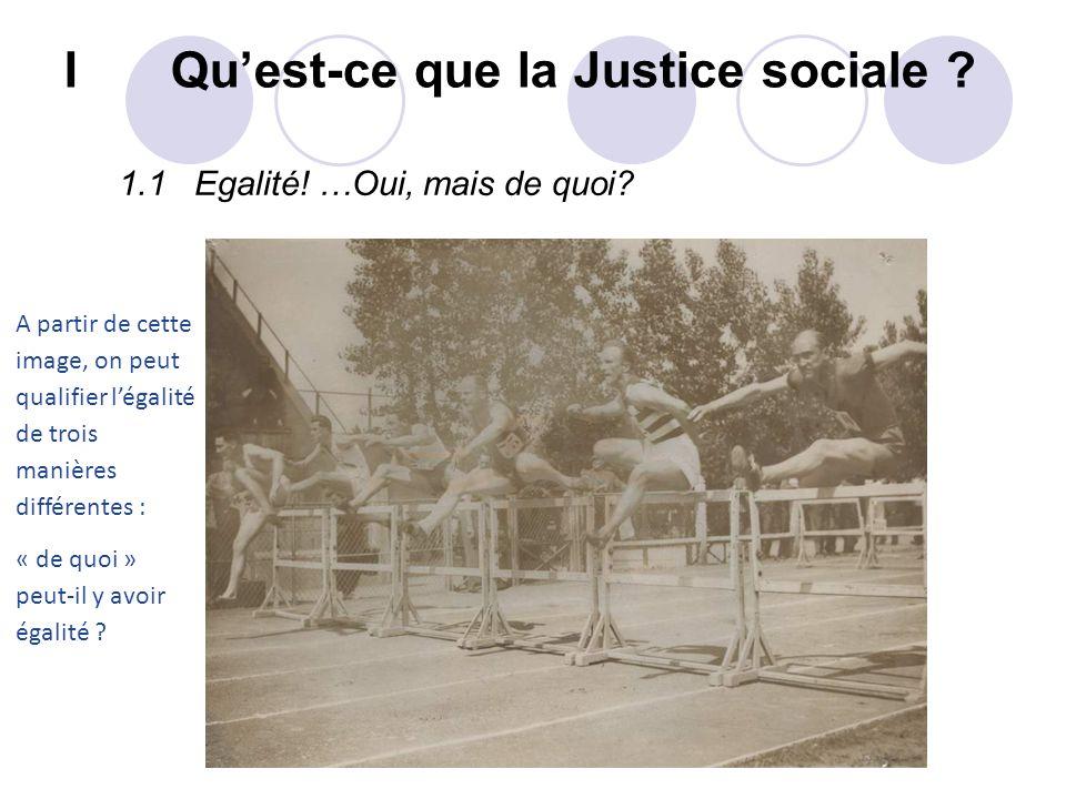 I Quest-ce que la Justice sociale ? 1.1 Egalité! …Oui, mais de quoi? A partir de cette image, on peut qualifier légalité de trois manières différentes