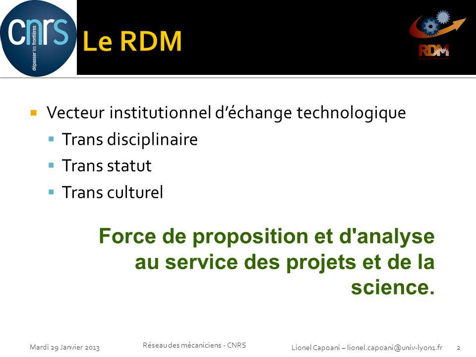 Mardi 29 Janvier 2013 Réseau des mécaniciens - CNRS 2 Lionel Capoani – lionel.capoani@univ-lyon1.fr Vecteur institutionnel déchange technologique Tran