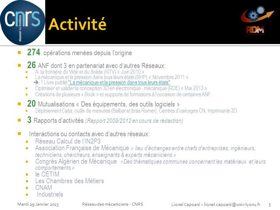 Réseau des mécaniciens - CNRS5Mardi 29 Janvier 2013 Lionel Capoani – lionel.capoani@univ-lyon1.fr 274 opérations menées depuis lorigine 26 ANF dont 3