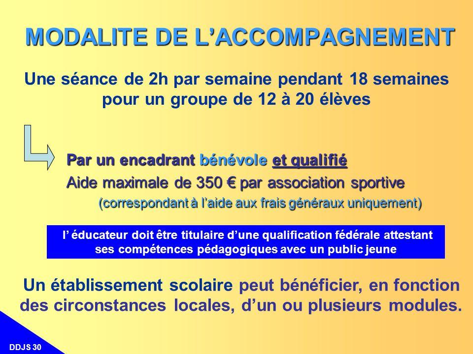 DDJS 30 Une séance de 2h par semaine pendant 18 semaines pour un groupe de 12 à 20 élèves MODALITE DE LACCOMPAGNEMENT Un établissement scolaire peut b