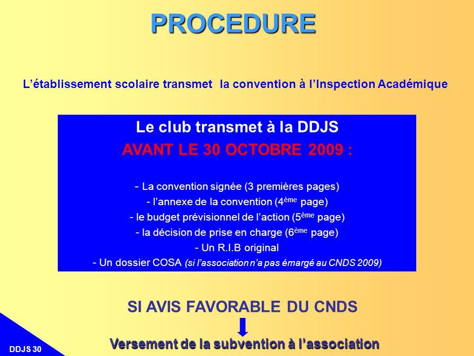 DDJS 30PROCEDURE Le club transmet à la DDJS AVANT LE 30 OCTOBRE 2009 : - - La convention signée (3 premières pages) - - lannexe de la convention (4 èm