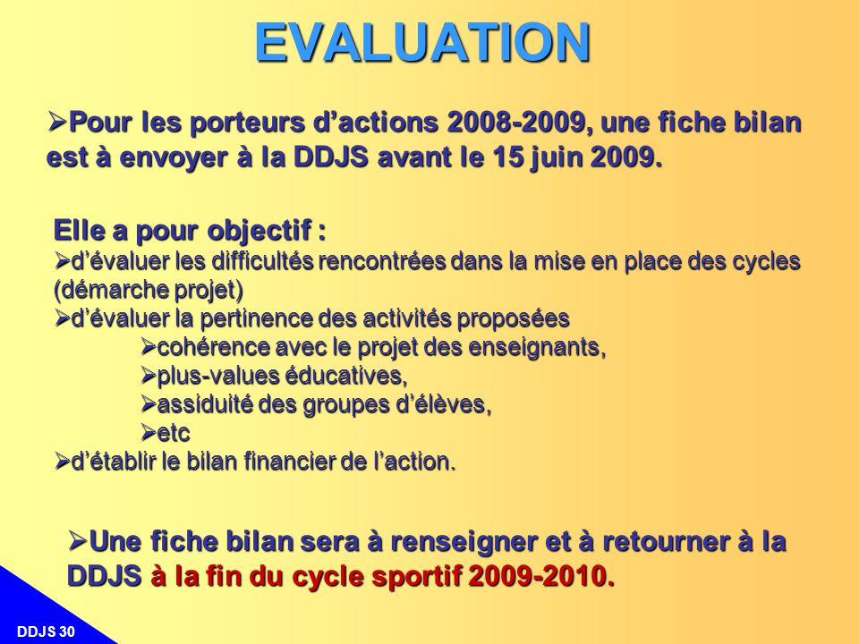 DDJS 30 Une fiche bilan sera à renseigner et à retourner à la DDJS à la fin du cycle sportif 2009-2010. Une fiche bilan sera à renseigner et à retourn