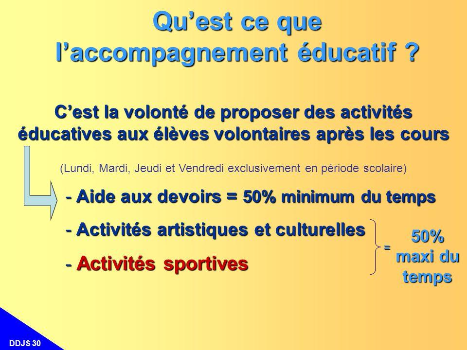 DDJS 30 Cest la volonté de proposer des activités éducatives aux élèves volontaires après les cours (Lundi, Mardi, Jeudi et Vendredi exclusivement en