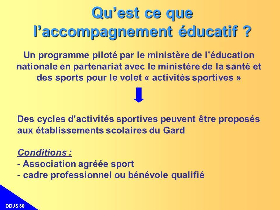 DDJS 30 Quest ce que laccompagnement éducatif ? Un programme piloté par le ministère de léducation nationale en partenariat avec le ministère de la sa