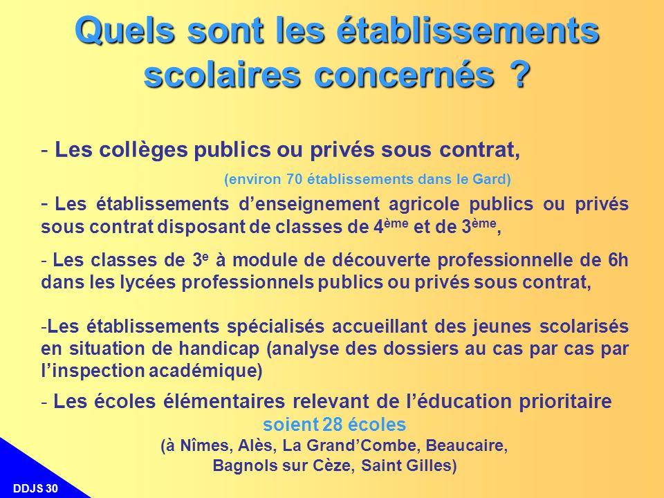 DDJS 30 Quels sont les établissements scolaires concernés ? - - Les collèges publics ou privés sous contrat, (environ 70 établissements dans le Gard)