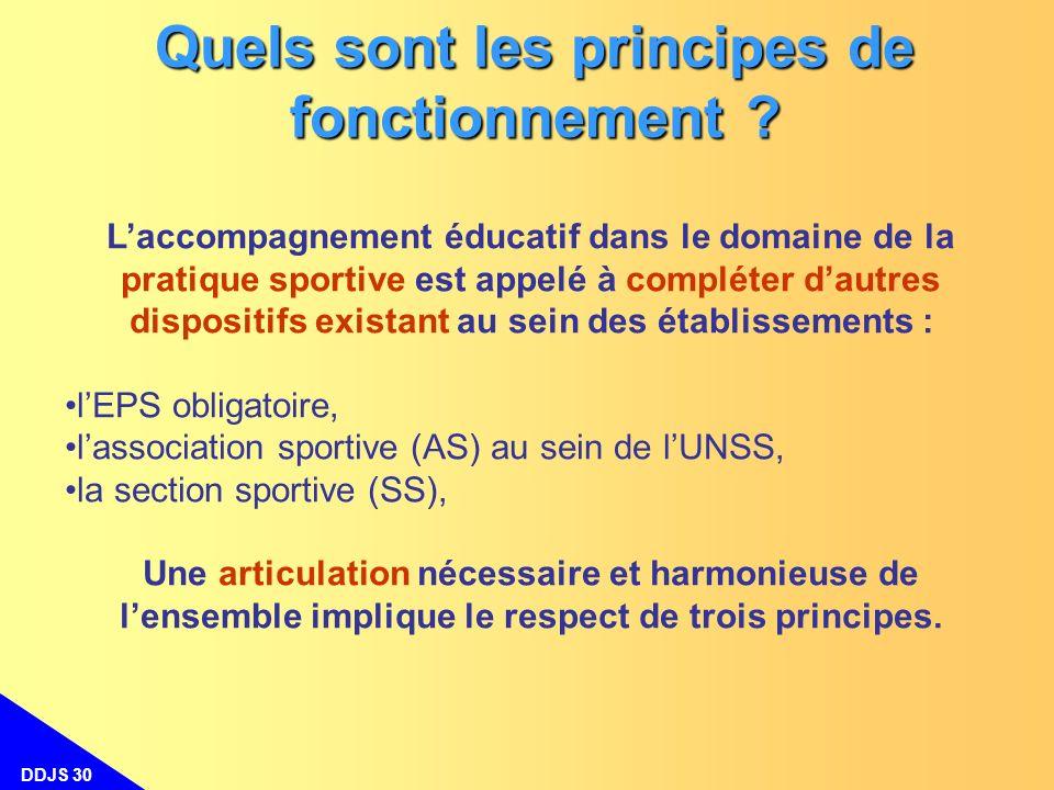 DDJS 30 Quels sont les principes de fonctionnement ? Laccompagnement éducatif dans le domaine de la pratique sportive est appelé à compléter dautres d