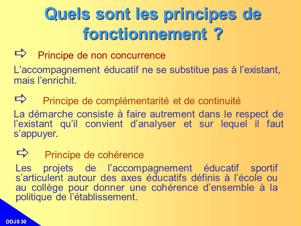 DDJS 30 Quels sont les principes de fonctionnement ? Principe de complémentarité et de continuité La démarche consiste à faire autrement dans le respe