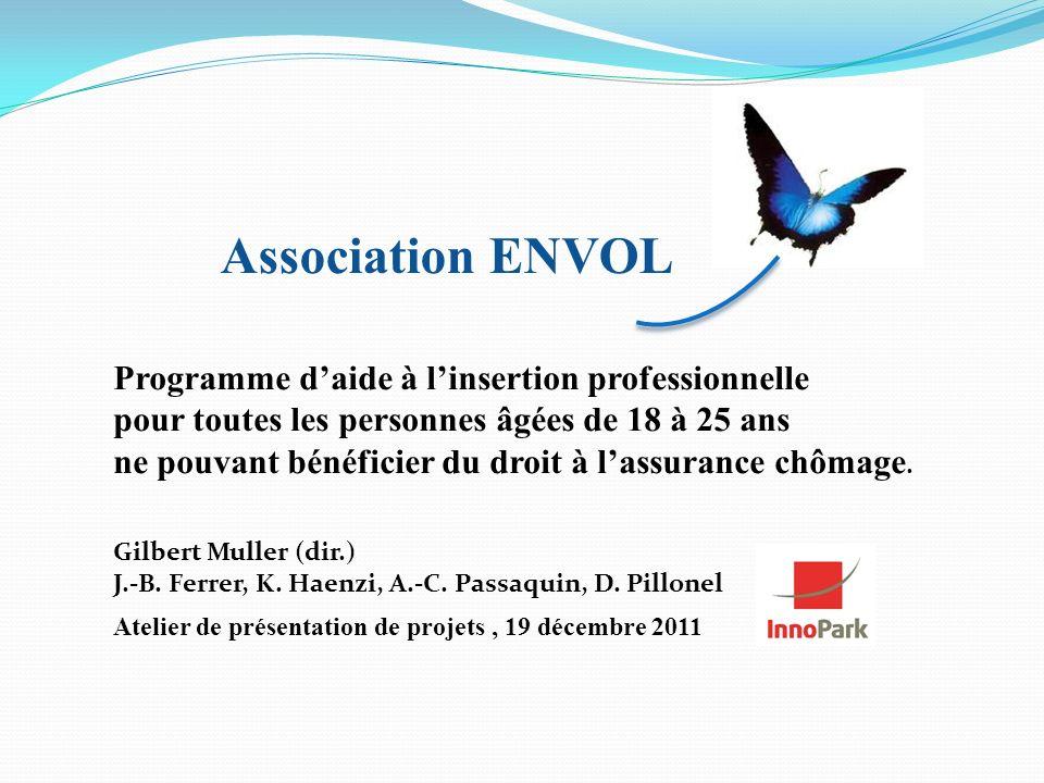 Association ENVOL Atelier de présentation de projets, 19 décembre 2011 Programme daide à linsertion professionnelle pour toutes les personnes âgées de 18 à 25 ans ne pouvant bénéficier du droit à lassurance chômage.