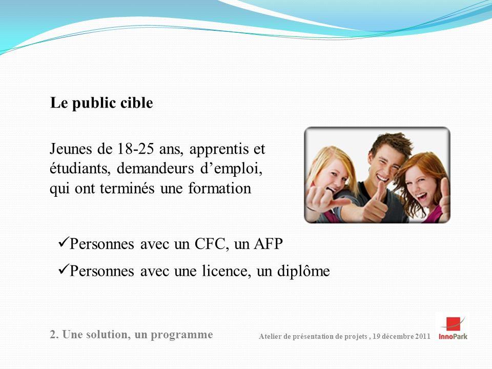 Atelier de présentation de projets, 19 décembre 2011 Le public cible 2.
