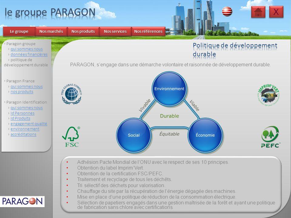 Paragon groupe qui sommes nous données financières politique de développement durable Paragon France qui sommes nous nos produits Paragon Identificati
