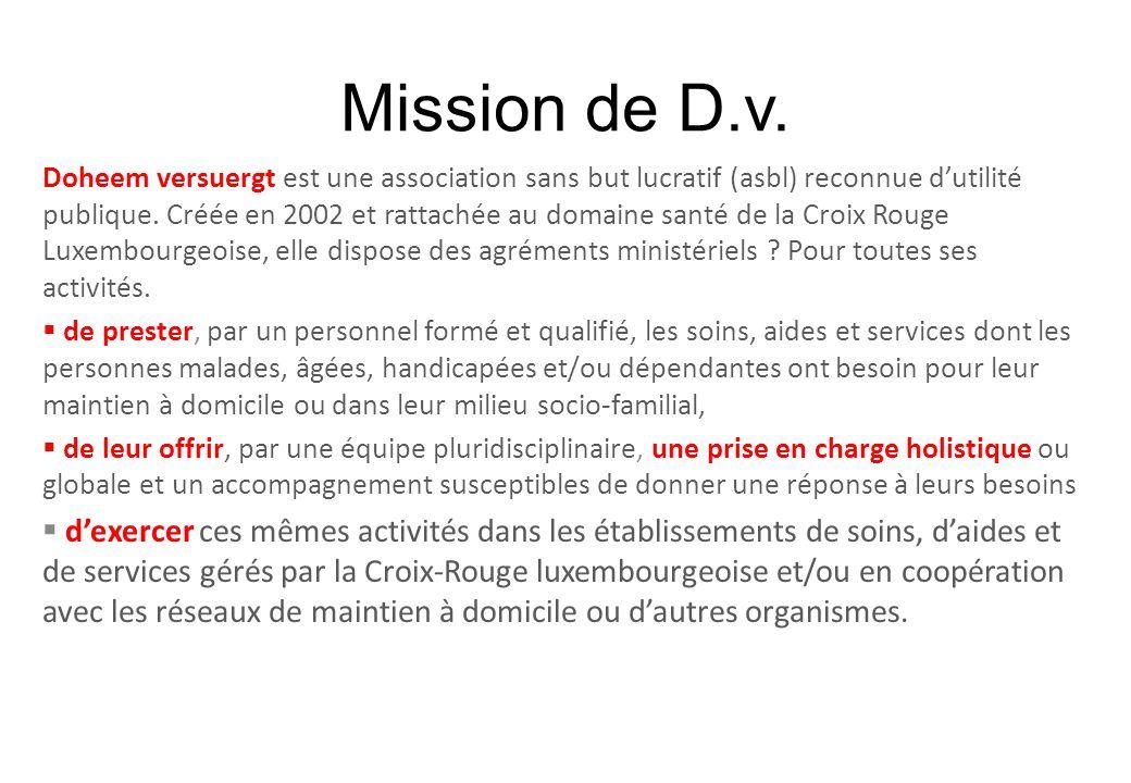 Mission de D.v. Doheem versuergt est une association sans but lucratif (asbl) reconnue dutilité publique. Créée en 2002 et rattachée au domaine santé