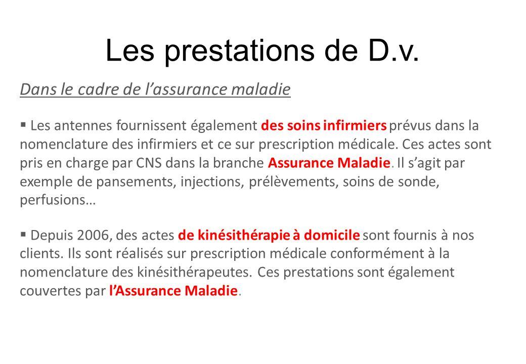 Les prestations de D.v. Dans le cadre de lassurance maladie Les antennes fournissent également des soins infirmiers prévus dans la nomenclature des in