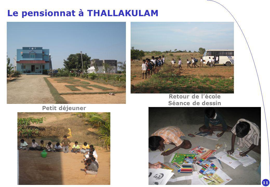Le pensionnat à THALLAKULAM Petit déjeuner Retour de lécole Séance de dessin 11