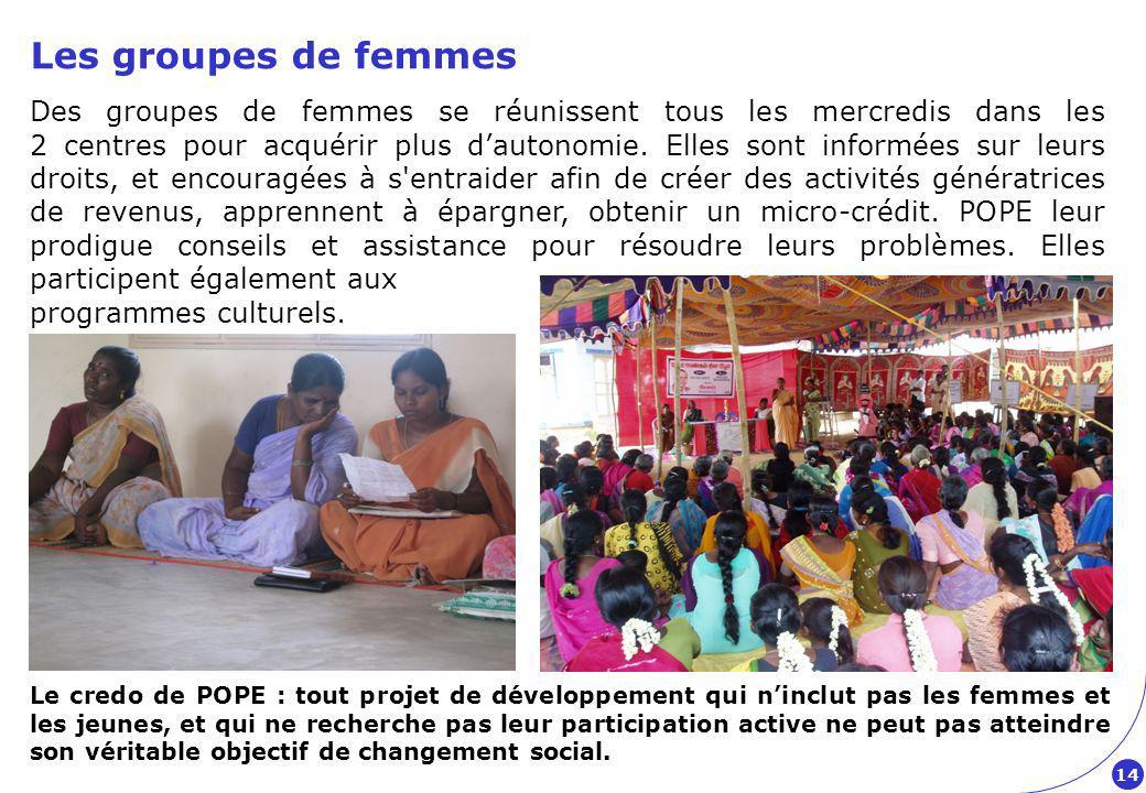 Les groupes de femmes Des groupes de femmes se réunissent tous les mercredis dans les 2 centres pour acquérir plus dautonomie.