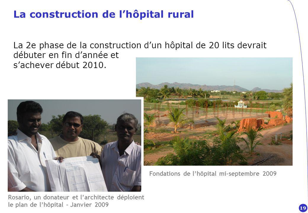 La construction de lhôpital rural La 2e phase de la construction dun hôpital de 20 lits devrait débuter en fin dannée et sachever début 2010.