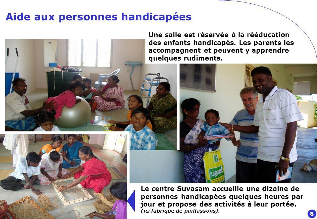 Aide aux personnes handicapées Le centre Suvasam accueille une dizaine de personnes handicapées quelques heures par jour et propose des activités à leur portée.