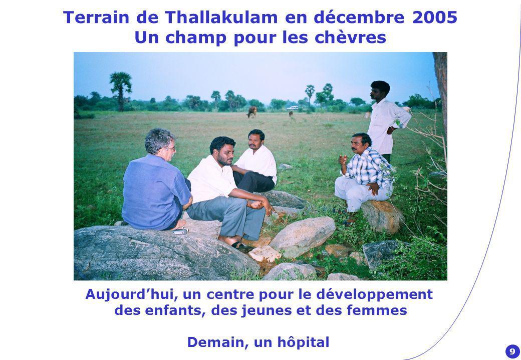 Terrain de Thallakulam en décembre 2005 Un champ pour les chèvres Aujourdhui, un centre pour le développement des enfants, des jeunes et des femmes Demain, un hôpital 9